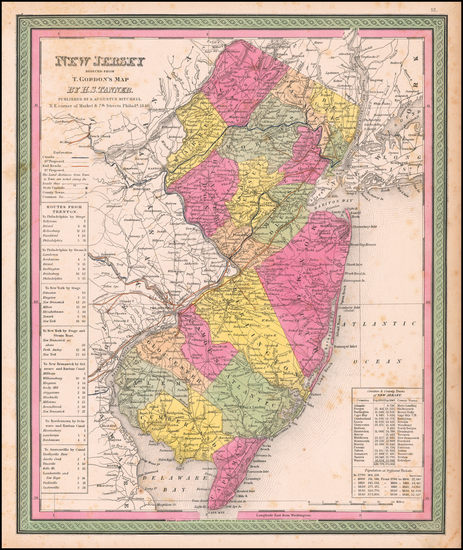 23-New Jersey Map By Samuel Augustus Mitchell