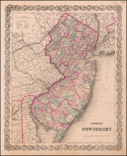 84-New Jersey Map By Joseph Hutchins Colton