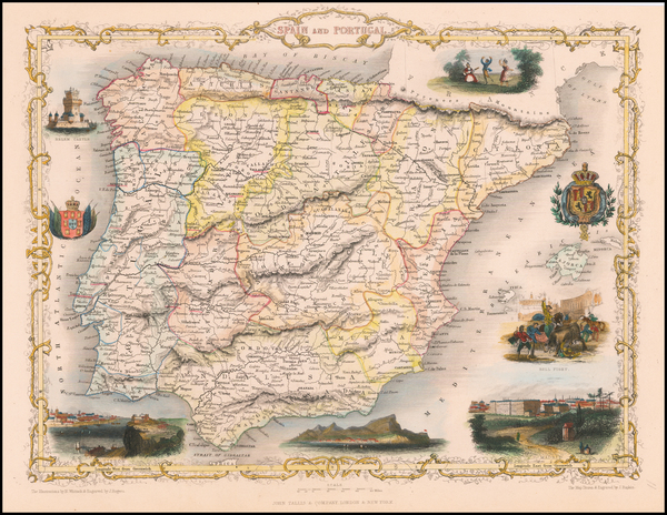 39-Spain and Portugal Map By John Tallis