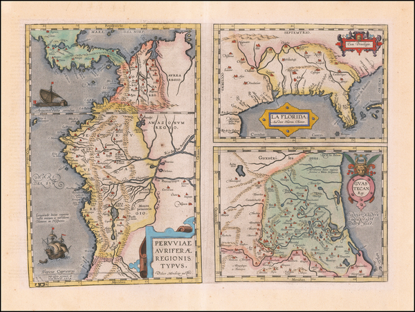 5-Florida, South, Southeast, Central America and South America Map By Abraham Ortelius
