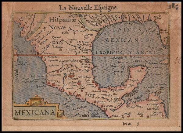 89-Florida, South, Texas, Mexico and Central America Map By Petrus Bertius