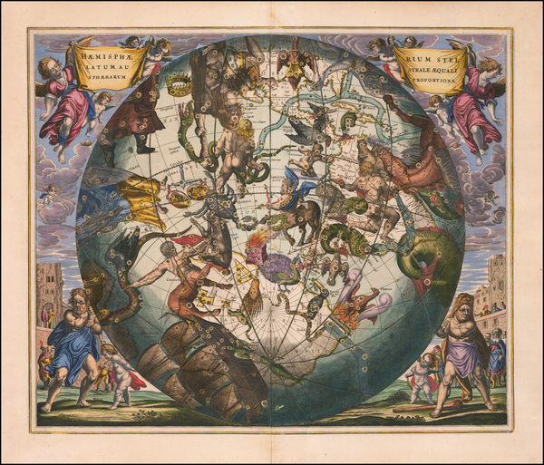 46-Western Hemisphere, Southern Hemisphere and Celestial Maps Map By Andreas Cellarius