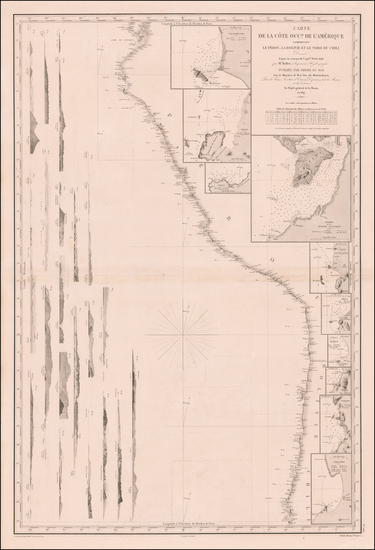 50-Chile, Paraguay & Bolivia and Peru & Ecuador Map By Depot de la Marine