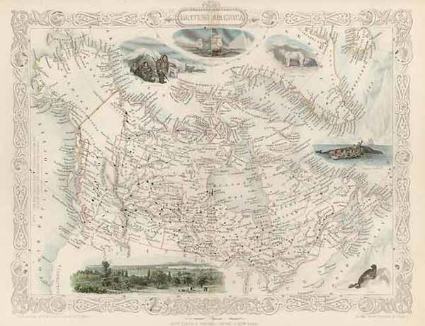 69-World, Polar Maps, Alaska, Canada, South America and America Map By John Tallis