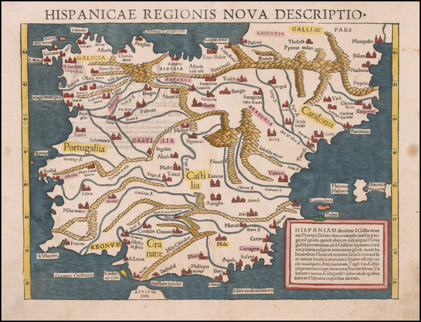 80-Spain and Portugal Map By Sebastian Münster