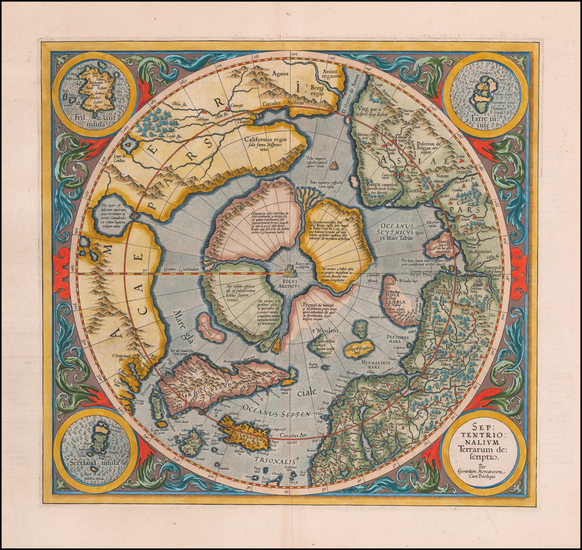 74-Northern Hemisphere and Polar Maps Map By Gerard Mercator