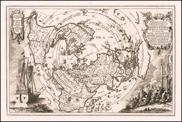World and Northern Hemisphere Map By Heinrich Scherer