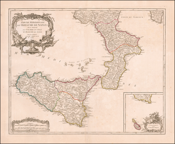 Southern Italy and Sicily Map By Didier Robert de Vaugondy