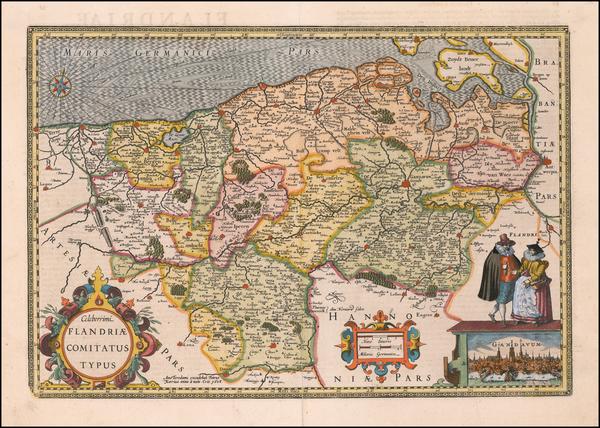 67-Belgium Map By Petrus Kaerius