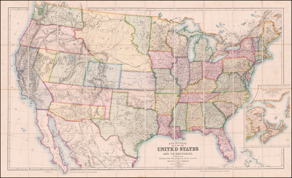 22-United States Map By Edward Stanford