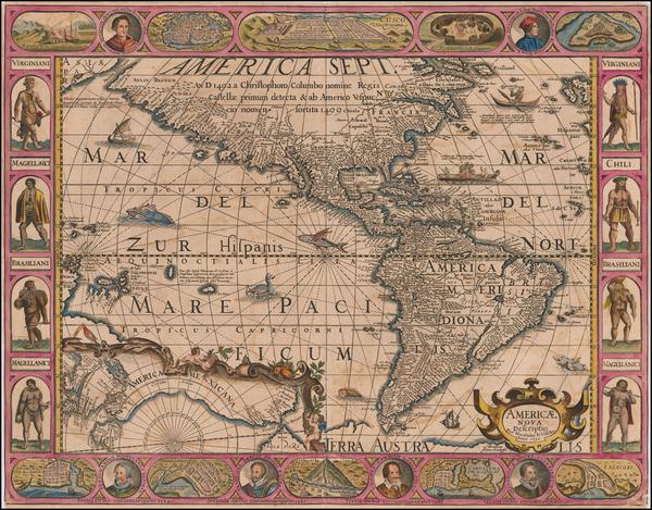 42-America Map By Pieter van den Keere / Nicolaes Visscher I