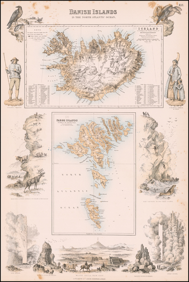 Atlantic Ocean, Iceland and Denmark Map By Archibald Fullarton & Co.