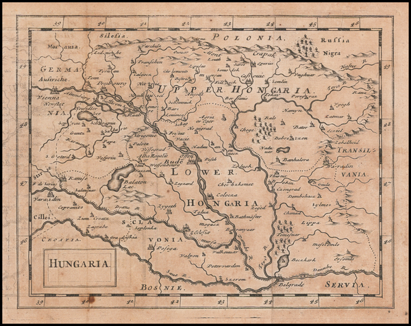 Hungary Map By Sir Jonas Moore
