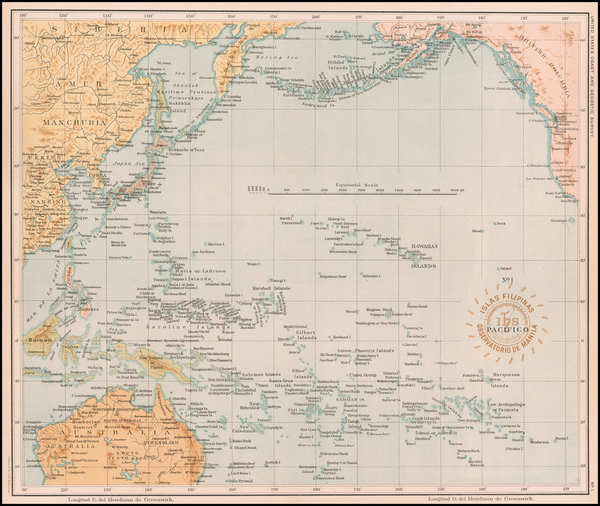 42-Philippines and Pacific Map By Hoen & Co.