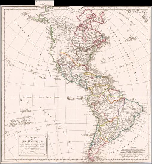 8-America Map By Didier Robert de Vaugondy / Charles Francois Delamarche