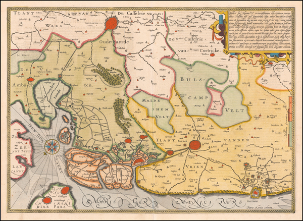 34-Belgium Map By Petrus Kaerius