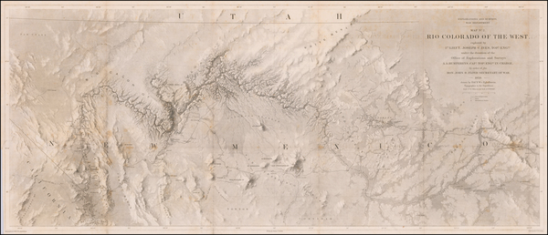 45-Southwest, Arizona, Nevada, New Mexico and California Map By Joseph C. Ives