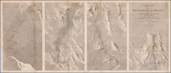 Southwest, Arizona, Nevada, New Mexico and California Map By Joseph C. Ives