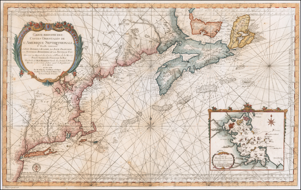 86-New England, Massachusetts and Canada Map By Jacques Nicolas Bellin
