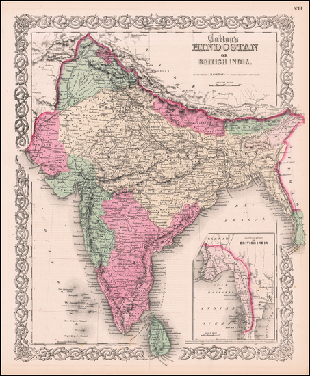 Asia, Asia and India & Sri Lanka Map By Joseph Hutchins Colton