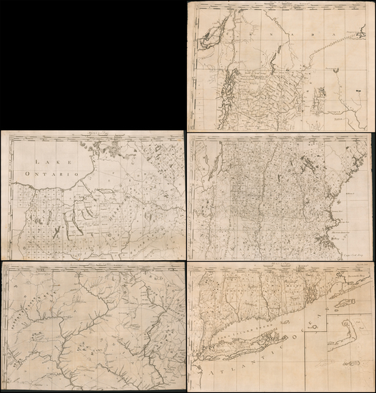 """76-United States, New England and Atlases Map By Christopher Colles  &  Elizabeth (""""Eliza"""