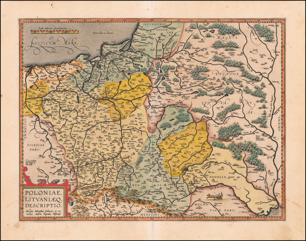 65-Poland and Baltic Countries Map By Abraham Ortelius