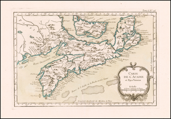 64-Canada Map By Jacques Nicolas Bellin