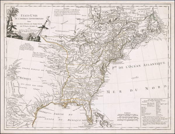 39-United States Map By Charles Francois Delamarche