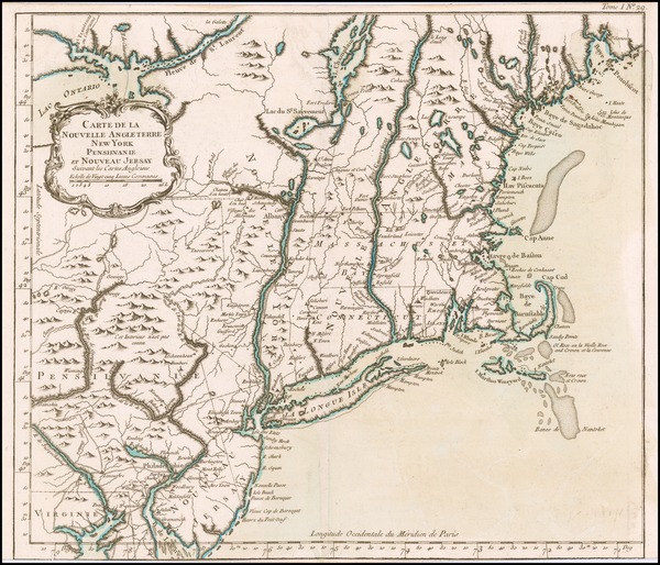 New England, Maine, Massachusetts, New Hampshire, Vermont, New York State, Mid-Atlantic, New Jersey and Pennsylvania Map By Jacques Nicolas Bellin