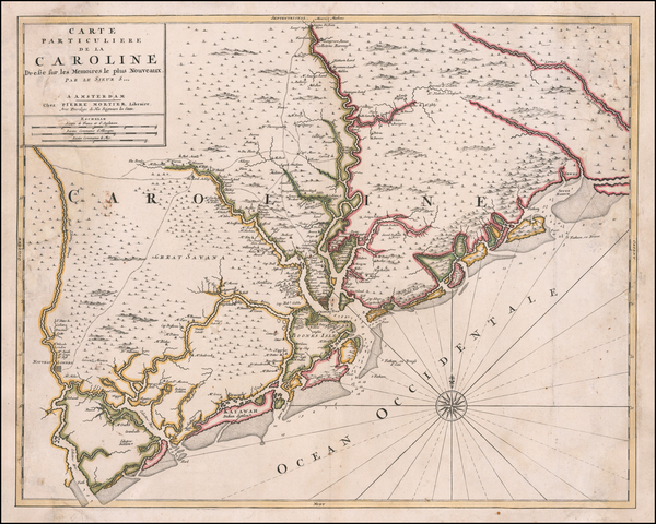 50-Southeast and South Carolina Map By Cornelis Mortier