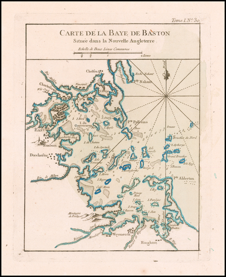 23-Massachusetts and Boston Map By Jacques Nicolas Bellin