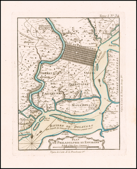 57-Pennsylvania Map By Jacques Nicolas Bellin