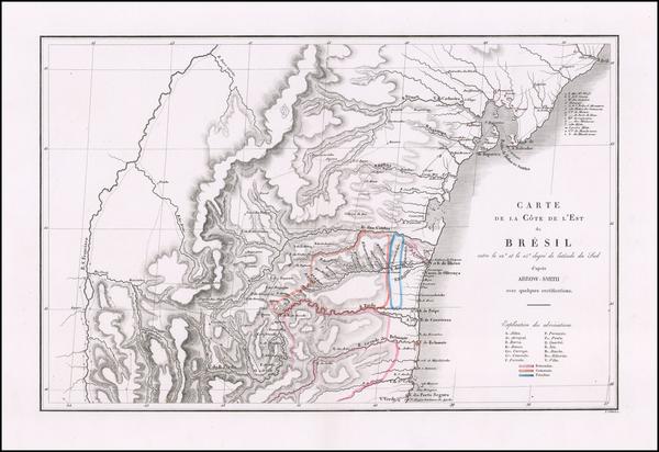 69-Brazil Map By Prinz Maximilian Alexander Philipp zu Wied-Neuwied