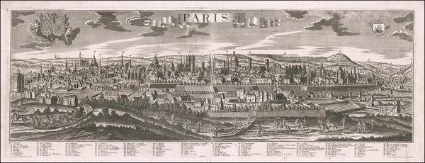 70-Paris Map By Georg Balthasar Probst