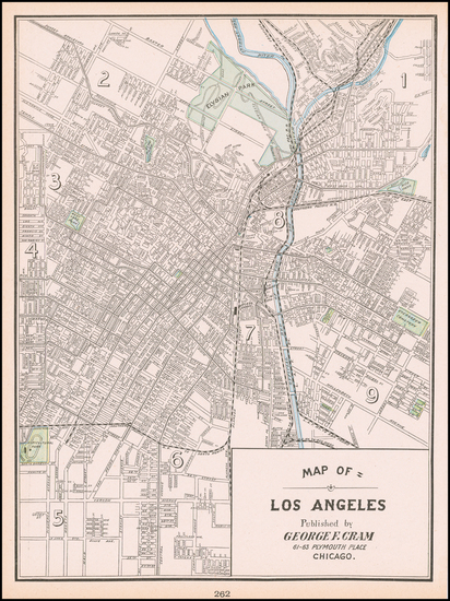83-Los Angeles Map By George F. Cram