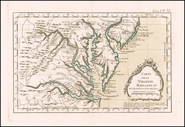 Mid-Atlantic, Maryland, Delaware, Southeast and Virginia Map By Jacques Nicolas Bellin