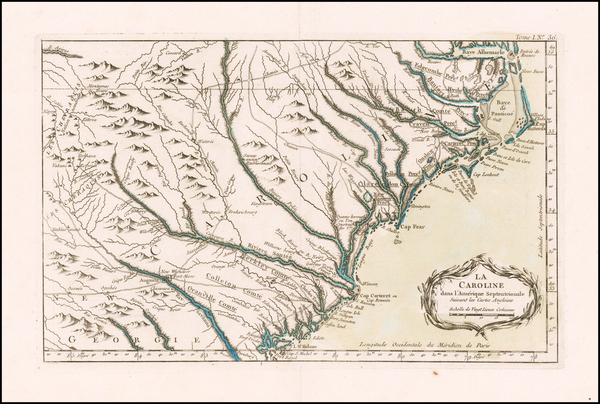 Tennessee, Southeast, Georgia, North Carolina and South Carolina Map By Jacques Nicolas Bellin