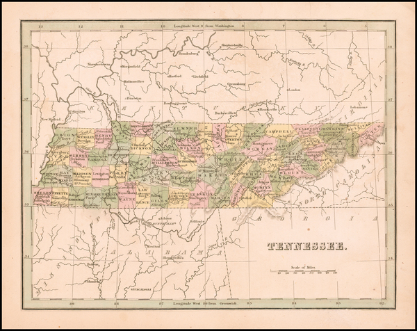 92-Tennessee Map By Thomas Gamaliel Bradford