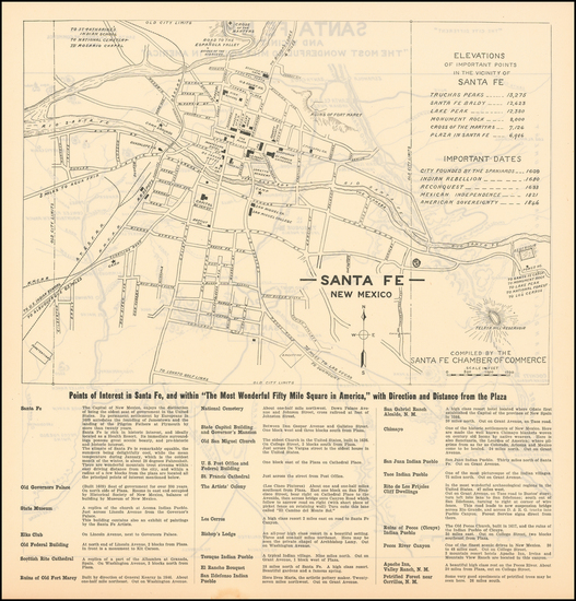 82-New Mexico Map By Santa Fe Chamber of Commerce