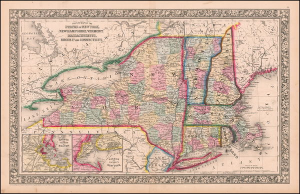 62-New England Map By Samuel Augustus Mitchell Jr.
