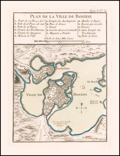 17-Massachusetts and Boston Map By Jacques Nicolas Bellin