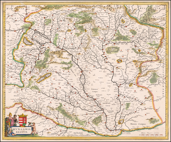 49-Hungary Map By Willem Janszoon Blaeu  &  Johannes Blaeu