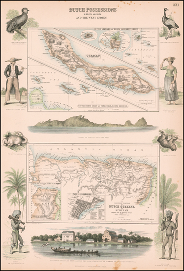 56-Caribbean and Guianas & Suriname Map By Archibald Fullarton & Co.