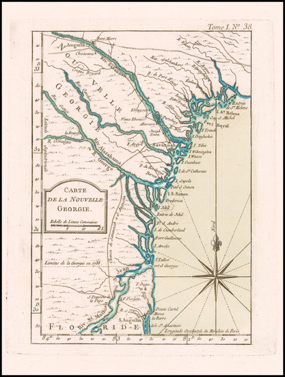 43-Florida, Southeast and Georgia Map By Jacques Nicolas Bellin