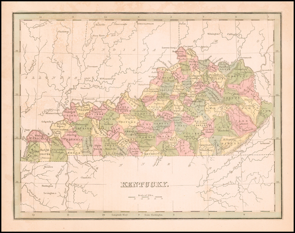 64-Kentucky Map By Thomas Gamaliel Bradford