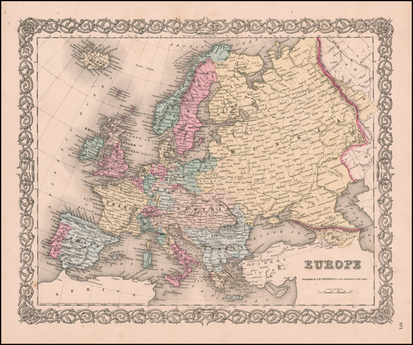 38-Europe Map By Joseph Hutchins Colton