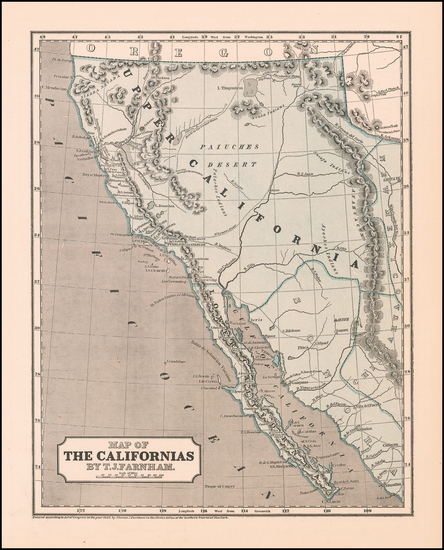 Southwest, Arizona, Utah, Nevada, Rocky Mountains, Utah, Baja California and California Map By Sidney Morse  &  Samuel Breese