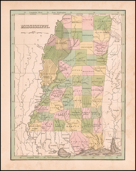 91-Alabama Map By Thomas Gamaliel Bradford