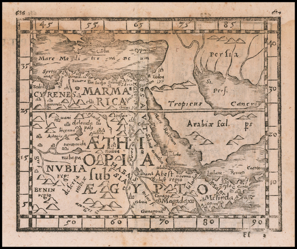 87-Cuba, Egypt and North Africa Map By Johann Honter