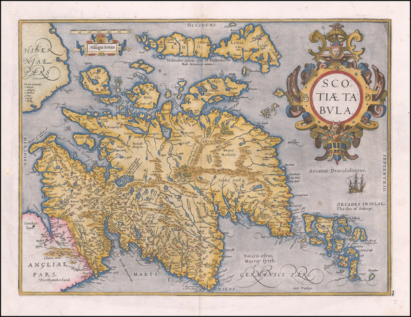 88-Scotland Map By Abraham Ortelius